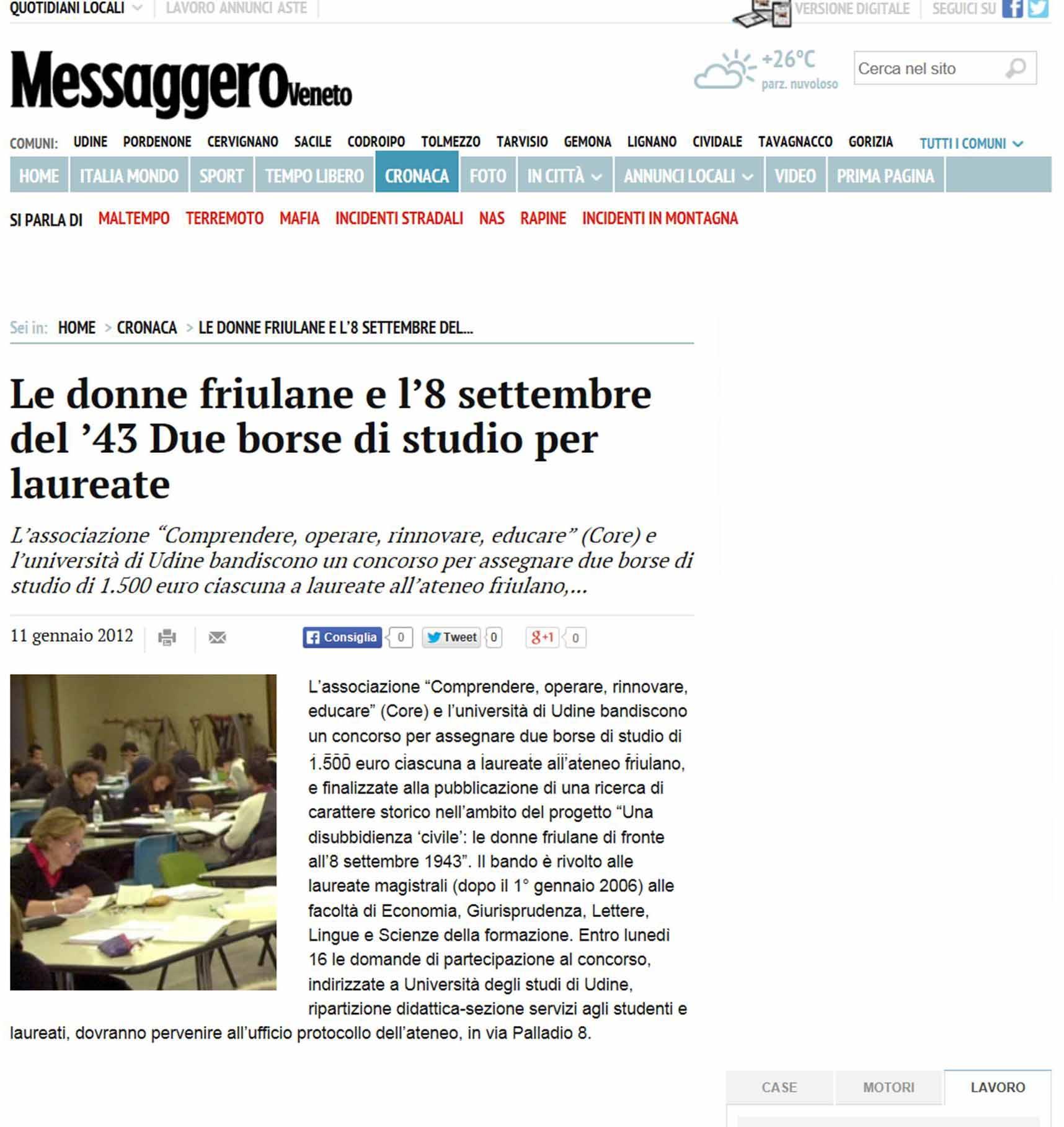 Messagero Veneto 11-01-2012
