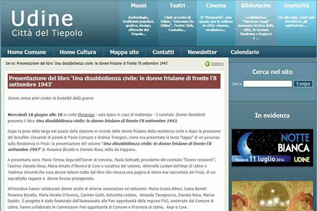 immagine pagina web sito Udine Cultura