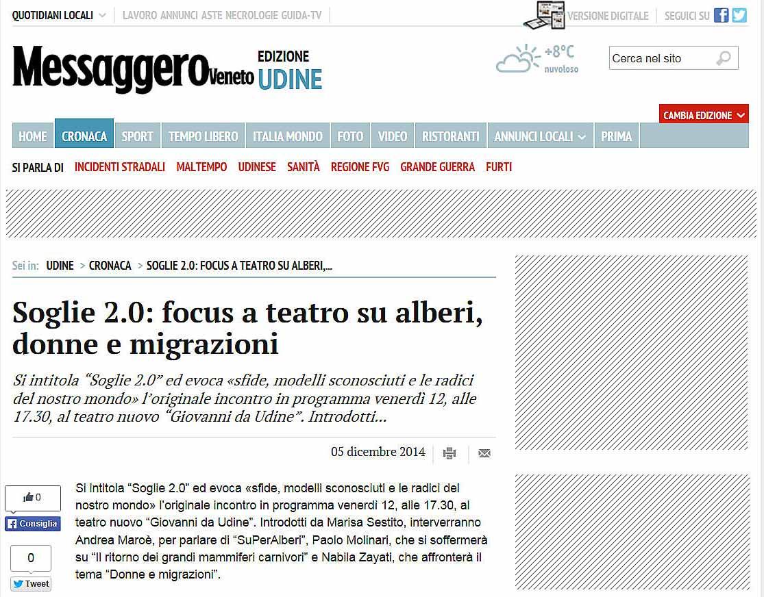 immagine pagina web sito Messaggero Veneto