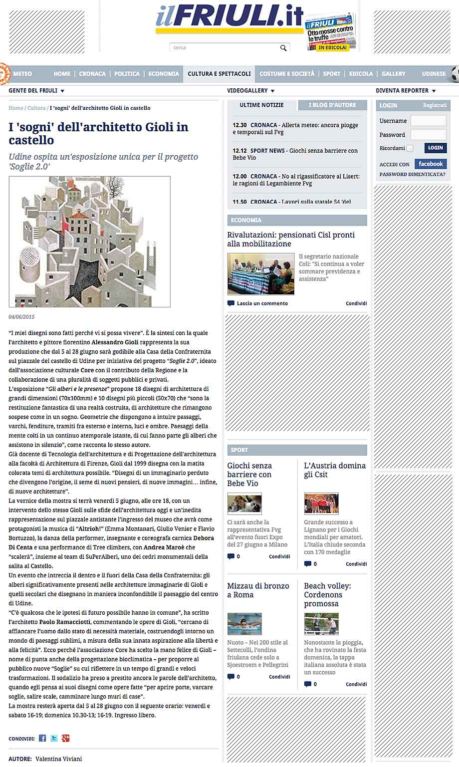 il Friuli: I 'sogni' dell'architetto Gioli in castello