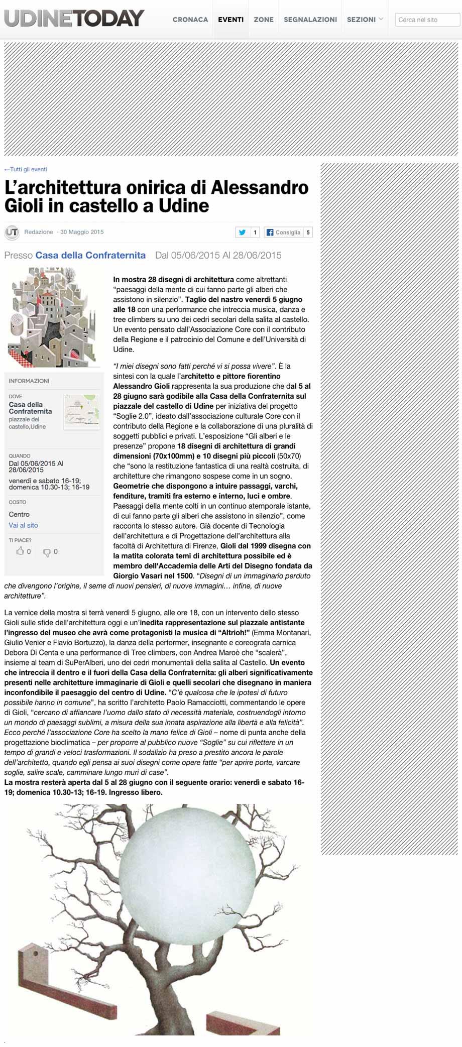 UdineToday: L'architettura onirica di Alessandro Gioli