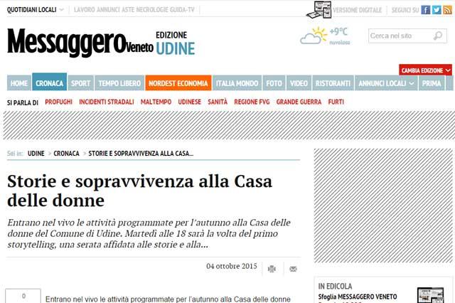 articolo sul sito web del Messaggero Veneto
