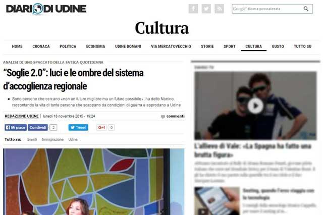 """Diario del Web Udine: """"Soglie 2.0"""": luci e ombre del sistema d'accoglienza regionale"""