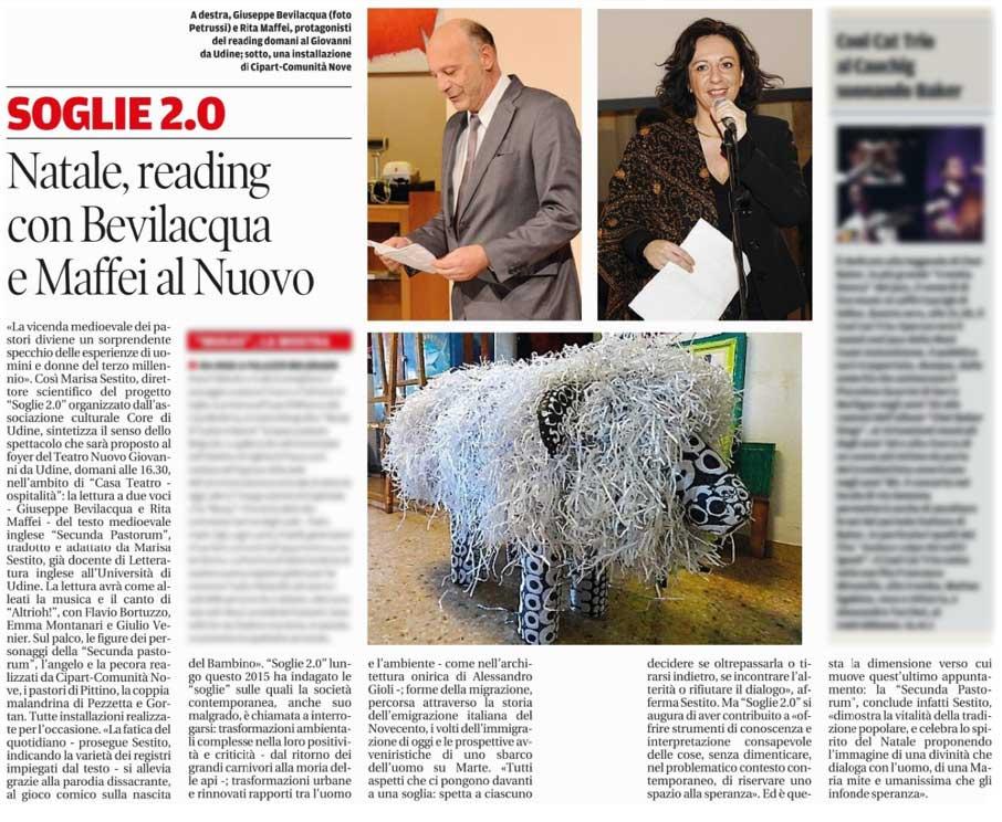 Messaggero Veneto: Soglie 2.0 – Natale, readings con Bevilacqua e Maffei al Nuovo