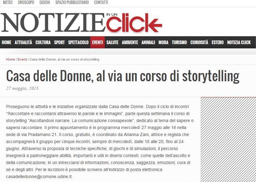 Notizie in un click: Casa delle Donne, al via un corso di storytelling