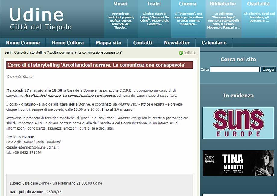 """Udine Cultura: Corso di storytelling """"Ascoltandosi narrare. La comunicazione consapevole."""