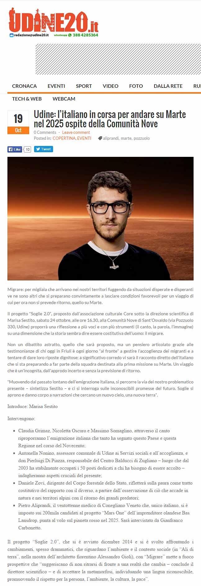 Udine20: Italiano in corsa per andare su Marte