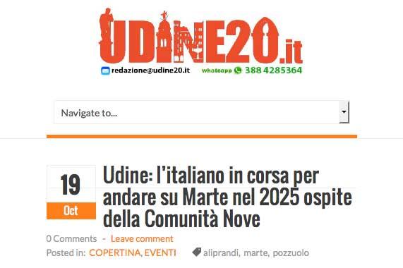 ritaglio pagina web dal sito udine20.it