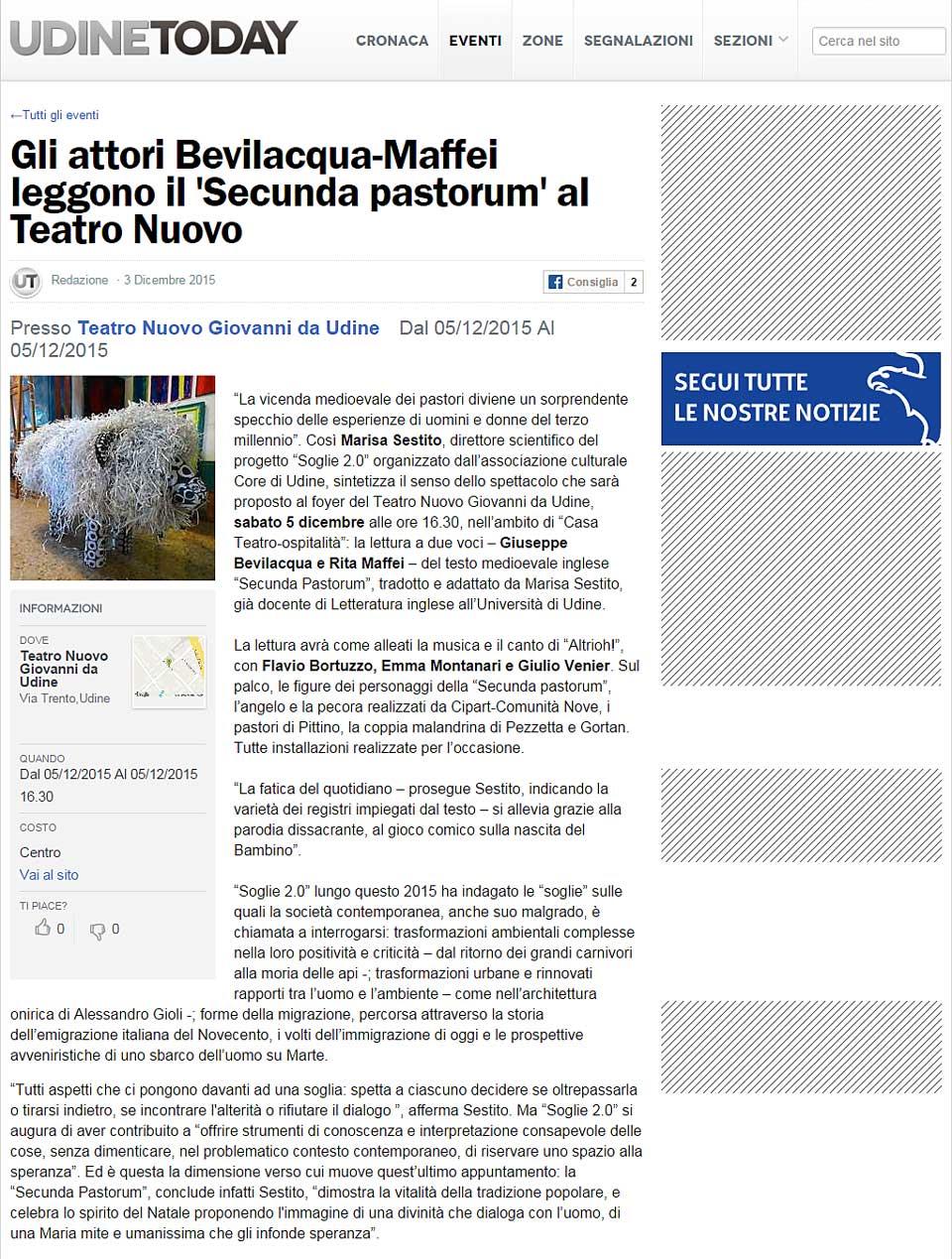 "UdineToday: Bevilacqua e Maffei leggono la ""Secunda pastorum"""