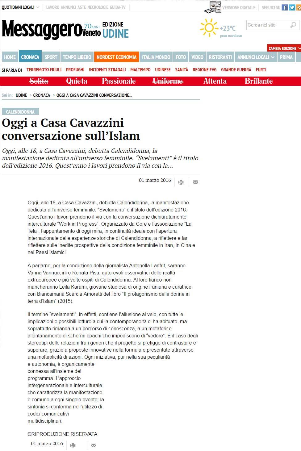 Messaggero Veneto: Calendidonna 2016 – Conversazione sull'Islam