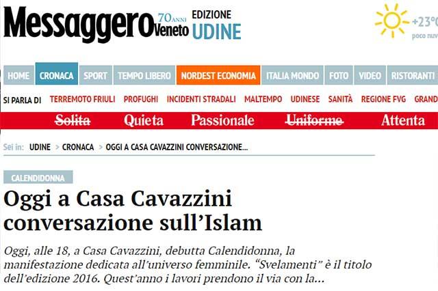 particolare pagina quotidiano Il Messaggero Veneto