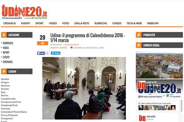 particalare pagina web sito Udine20.it