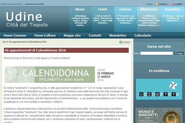 particolare pagina web sito Udinecultura.it