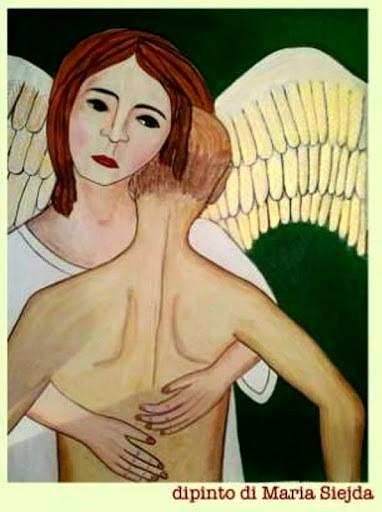 dipinto di Maria Siejda con angelo che abbraccia umano