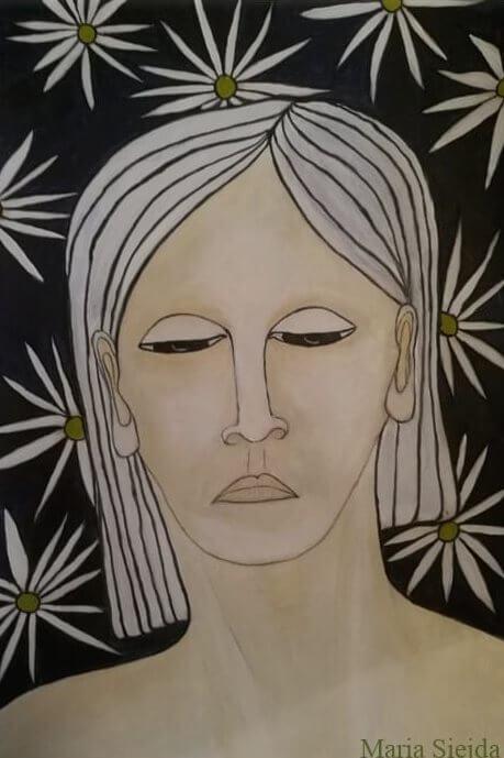 dipinto di volto di donna con sfondo floreale opera di Maria Sejda